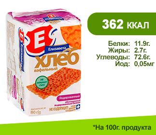 Хлеб вафельный</br> ЕЛИЗАВЕТА 80гр.</br> обогащённые йодированным белком